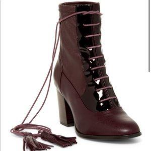 Cecelia New York Boots Burgundy Leather